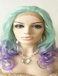Sylvia синтетический парик фронта шнурка мяты зеленый смешанный с фиолетовым ломбера тепла волосы устойчивы длинные естественная волна