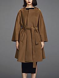 Chocolatone Women's Casual/Daily Simple CoatSolid Asymmetrical Long Sleeve Winter Brown Wool Medium