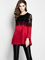 Tee-shirt Femme,Mosaïque Sortie Sophistiqué Eté Manches Longues Col Arrondi Rouge Cuirs Particuliers Moyen