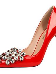 Women's Heels Spring Summer Fall Comfort Leather Dress Party & Evening Stiletto Heel Flower Black Purple Red White Silver Gray Walking