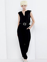 De las mujeres Pantalones Chinos-Simple Rígido-Poliéster