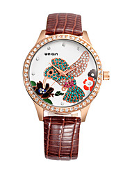 WEIQIN Brand Women Rhinestone hummingbird dial Leather Band Luxury Quartz Vogue Wrist Watches