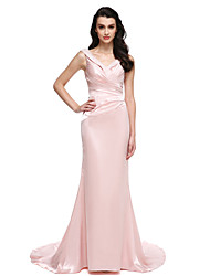 TS Couture Formal Evening Dress - Elegant Trumpet / Mermaid V-neck Sweep / Brush Train Stretch Satin with Beading Crystal Detailing