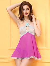 Ultra Sexy Vêtement de nuit Femme,Dentelle Mosaïque-Mince Spandex Rose