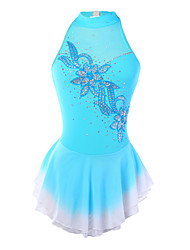 Robe de Patinage Femme / Fille Sans manche Patinage Jupes & Robes Robe de patinage artistique Spandex Bleu Tenue de PatinageUtilisation /
