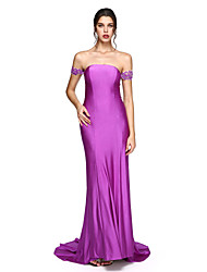 TS Couture® Formal Evening Dress - Open Back Sheath / Column Off-the-shoulder Floor-length Jersey with Appliques