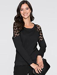 Tee-shirt Femme,Mosaïque Décontracté / Quotidien simple / Chic de Rue Printemps / Automne Manches Longues Col Arrondi Noir Polyester Moyen