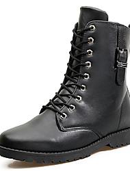 Men's Motorcycle Boots Fashion Martin Boots Flat Heel Buckle / Zipper / Lace-up Black / Brown Walking