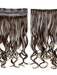 24inch 60cm 120G Clip in On Hair Extensions Wavy Clip On Hairpieces