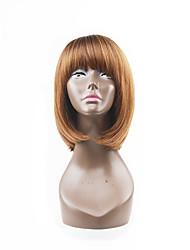 style chaud brun foncé fraise mixte blond deux tons natual style de cheveux de bob avec une frange droite perruques de capless