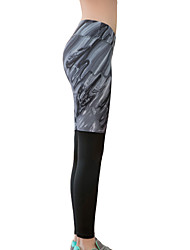 Pantalon de yoga Collants Bas Séchage rapide Isolé Compression Confortable Taille basse Haute élasticité Vêtements de sport Gris Femme