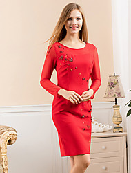 GATHER BEAUTY Women's Going out Simple A Line DressSolid Round Neck Above Knee Long Sleeve Red / Black Polyester / Nylon / Spandex Winter Mid Rise