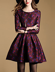 Women's Casual/Daily Vintage A Line DressJacquard Round Neck Knee-length Long Sleeve Purple Polyester All Seasons