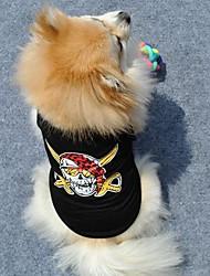 Katzen / Hunde T-shirt Schwarz Hundekleidung Sommer Totenkopf Motiv Modisch
