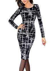 Women's Work Vintage / Street chic Slim Sheath Pencil Dress Color Block Round Neck Above Knee Long Sleeve