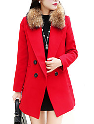 Women's Formal / Work Punk & Gothic / Sophisticated CoatSolid Notch Lapel Long Sleeve Fall / Winter Red Cotton / Rayon