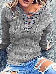 T-shirt Da donna Casual Romantico Autunno / Inverno,Tinta unita Rotonda Cotone Nero / Grigio Manica lunga Medio spessore
