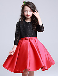 Ball Gown Knee-length Flower Girl Dress - Lace / Satin 3/4 Length Sleeve Jewel with Bow(s) / Lace
