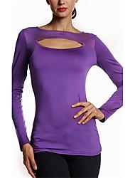 Tee-shirt Femme,Couleur Pleine Sortie / Décontracté / Quotidien simple / Chic de Rue Printemps / Automne Manches Longues Col ArrondiNoir