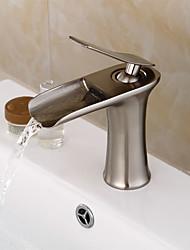 Судно одной ручкой одно отверстие в никеле щеткой кран раковины ванной комнаты
