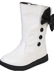 Mädchen-Stiefel-Kleid Lässig-PU-Flacher Absatz-Komfort Schneestiefel-Schwarz Rot Weiß