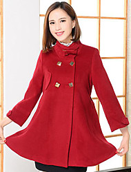 Women's Casual/Daily Simple Coat,Solid Long Sleeve Winter Blue / Red Wool Medium