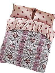Floral Define capa de edredão 4 Peças Algodão Estampa Impressão Reactiva Algodão Queen 4peças (1 edredão, 1 lençol, 2 coberturas)