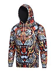Men's Print Casual / Sport Pocket Tiger Print Long Sleeve Men 3d Hoodie