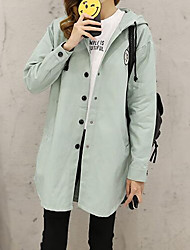 Women's Casual/Daily Street chic CoatPrint Hooded Long Sleeve Fall / Winter Blue / Pink  Cotton Thick