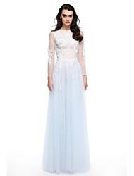 2017 ts couture® formale Abend a-line Juwel bodenlangen Tüll mit Applikationen / Sicken