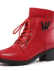 Women's Boots Winter Comfort Leatherette Office & Career / Dress / Casual Low Heel Others Black / Red Others