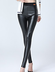 Women's Solid Black Skinny Pants Sexy /Street chic Plus Size /Casual High Waist Fashion Slim Thin Fall /Winter PU