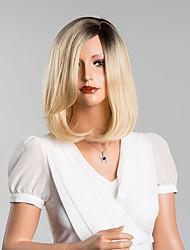 bob douce mi-longueur perruques capless droites de haute qualité des cheveux humains couleur mélangée
