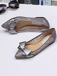 Women's Flats Comfort Tulle Spring Summer Fall Casual Comfort Bowknot Split Joint Flat Heel Black Gray Ruby Flat
