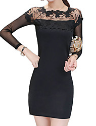 Women's Going out / Casual/Daily Street chic Bodycon / Little Black DressSolid / Patchwork Square Neck Long Sleeve Black