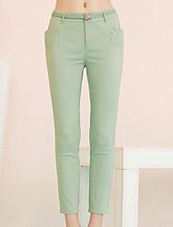 Pantalon Aux femmes Slim simple Coton / Polyester / Spandex Non Elastique