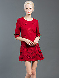 GATHER BEAUTY Women's Going out Vintage A Line DressEmbroidered Round Neck Above Knee  Length Sleeve Red / Green Cotton Fall Mid Rise