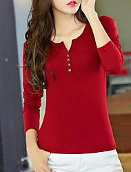 Damen Solide Einfach Lässig/Alltäglich T-shirt,Rundhalsausschnitt Herbst Langarm Rot / Weiß / Schwarz / Grau / Grün Baumwolle Mittel