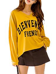 Tee-shirt Femme,Lettre Décontracté / Quotidien simple Automne / Hiver Manches Longues Col en V Jaune Rayonne / Polyester Fin