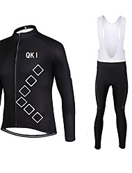 QKI Cycling Jersey with Bib long Tights Long Sleeve Bike Breathable / Quick Dry / Front Zipper / 3D coolmax gel pad