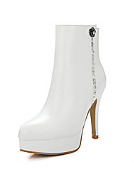 WeenFashion Women's Microfiber Low-top Solid Chains High-Heels Boots