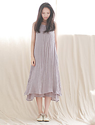 Ramie Cotton Women's Casual/Daily Simple Loose DressSolid Round Neck Midi Sleeveless Gray