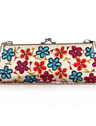 L.WEST Women's Classical Style Restoring Ancient Ways Embroidery Beaded Flower Evening Bag
