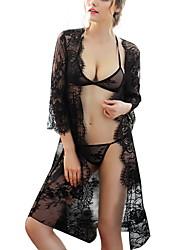 Lingerie en Dentelle Costumes Vêtement de nuit Femme,Sexy Couleur Pleine-Mince Dentelle Polyester Noir