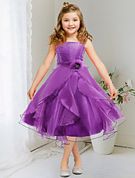 A-line   Tea-length Flower Girl Dress - Organza / Satin Sleeveless Spaghetti Straps with Crystal Detailing / Flower(s)