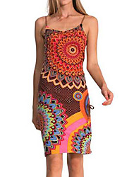 Women's Casual/Daily Vintage Bodycon DressPrint Strap Above Knee Sleeveless Multi-color Polyester All Seasons Mid Rise