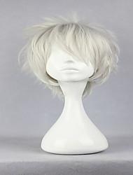 высший сорт Hitman Reborn Byakuran стиль серебристо-белый мужской короткий фигурные парик косплей