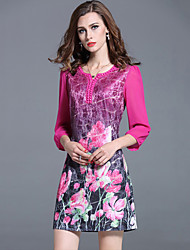 Women's Plus Size / Going out Beaded A Line Thin DressFloral Sweetheart Above Knee  Sleeve Blue / Pink Fall Mid Rise