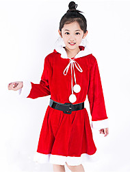 Kid Girls Christmas Halloween Long - sleeved Stitching Color Hooded Dress Cosplay Suits