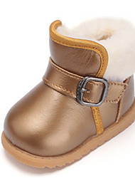 Girls' Baby Boots Cowhide Casual Gold Yellow Ruby Flat